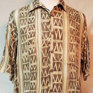 Roundtree & Yorke L mens Ivory Geometric Shirt